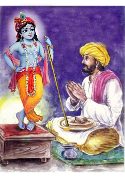 Shri Krishna Appears Before Dhanna and Eats the Food