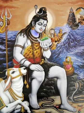 Shiva Drinks Poison from Churning of Milk OceanPicture